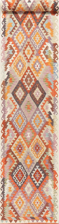 Geometric Kilim Turkish Oriental Runner Rug 3x16