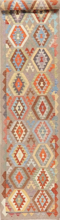 Pastel Geometric Kilim Turkish Runner Rug 3x16