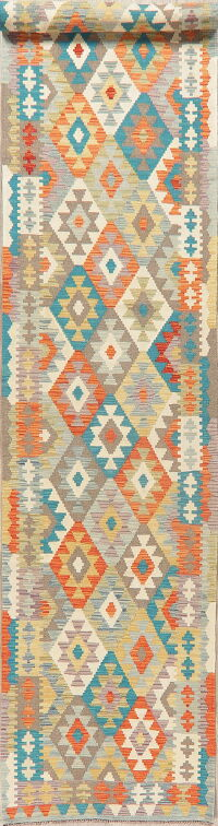 Geometric Kilim Turkish Oriental Runner Rug 3x13