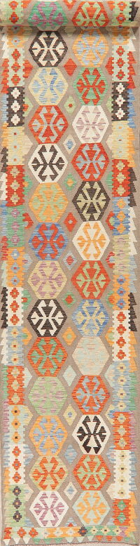 Geometric Kilim Turkish Oriental Runner Rug 3x19
