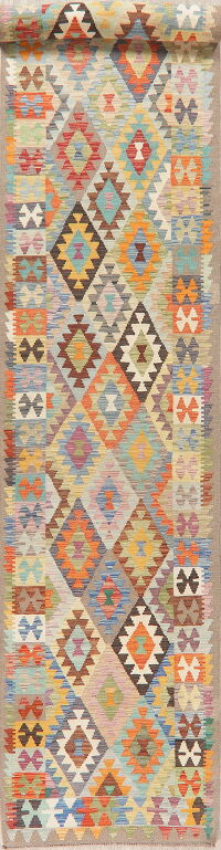 Pastel Geometric Kilim Turkish Runner Rug 3x19
