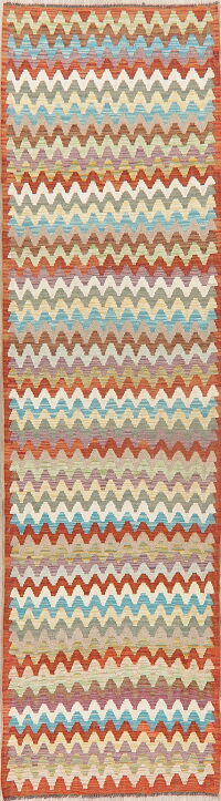 All-Over Kilim Turkish Oriental Runner Rug 3x9