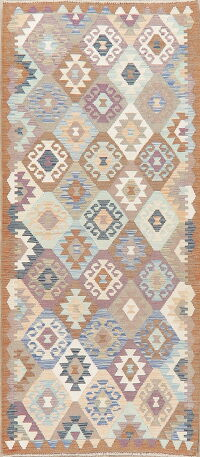 Geometric Kilim Turkish Oriental Runner Rug 3x6