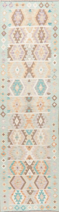 Pastel Geometric Kilim Turkish Runner Rug 3x10