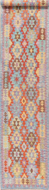 Pastel Geometric Kilim Turkish Runner Rug 3x13