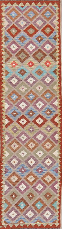 Flat-Woven Geometric Kilim Turkish Runner Rug 3x10