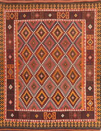 Flat-Woven Geometric Kilim Turkish Area Rug 7x9