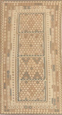 Flat-Woven Geometric Kilim Turkish Area Rug 6x10