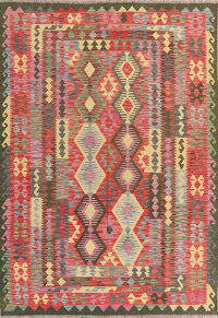 Flat-Woven Geometric Kilim Turkish Area Rug 6x8