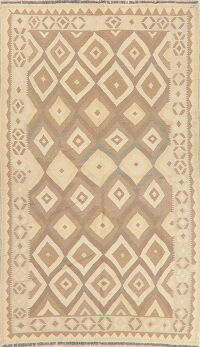 Flat-Woven Geometric Kilim Turkish Area Rug 5x8
