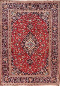 Floral Red Kashan Persian Area Rug 7x10
