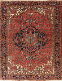 Antique Vegetable Dye Heriz Serapi Persian Area Rug 9x12