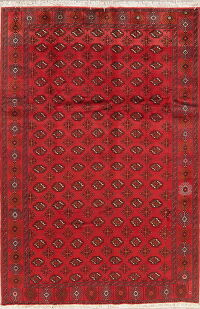 Vintage Geometric Red Balouch Oriental Area Rug 7x10