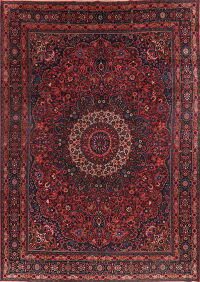 Antique Pink Floral Signed Mood Persian Area Rug 10x14