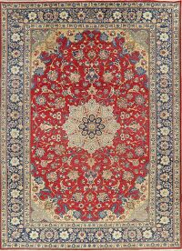 Vintage Floral Red Isfahan Persian Area Rug 9x13