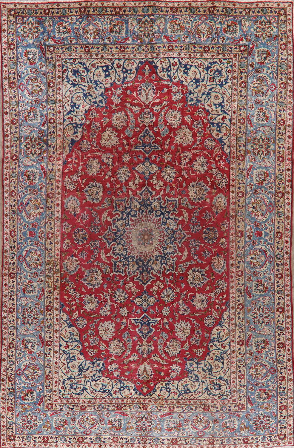 Floral Red Najafabad Persian Area Rug 8x13 image 1