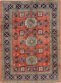 Rust Red Geometric Heriz Persian Area Rug 7x9