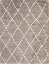 Light Brown Trellis Shaggy Turkish Area Rug 8x10