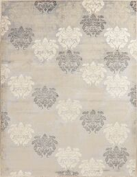 Damask Design Grey Turkish Area Rug 8x11