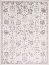 Floral Ivory Agra Turkish Area Rug 8x11
