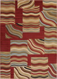 Waves Design Multi-Color Modern Turkish Area Rug 8x11