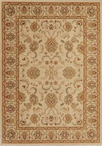 Floral Beige & Ivory Oushak Oriental Area Rug 7x10