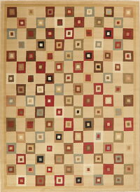 All-Over Geometric Beige Modern Oriental Area Rug 8x11