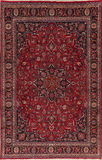 Vintage Floral Red Mashad Persian Area Rug 8x12