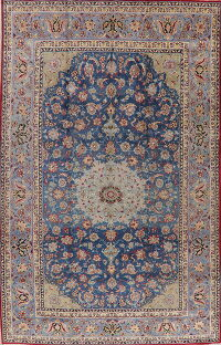 Large Vintage Blue Floral Isfahan Persian Rug 9x15