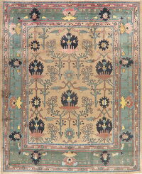 Light Brown Geometric Heriz Persian Area Rug 9x11