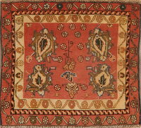 Geometric Rust Red Abadeh Persian Area Rug 2x2 Square