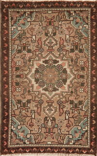 Light Brown Geometric Hamedan Persian Area Rug 2x3