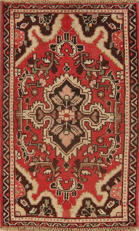 Vintage Geometric Red Hamedan Persian Area Rug 2x3