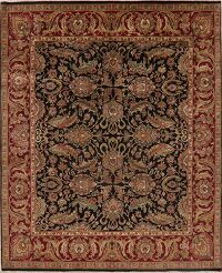 Black All-Over Floral Agra Oriental Area Rug 8x10
