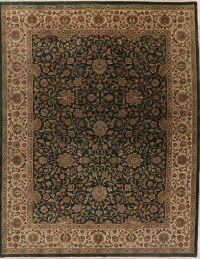 All-Over Green Floral Agra Oriental Area Rug 9x12