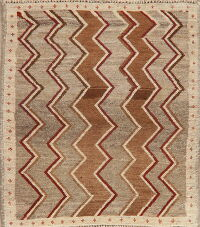 Taupe Geometric Gabbeh Shiraz Persian Area Rug 3x3 Square