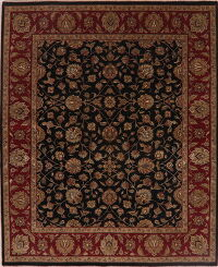 Black/ Burgundy All-Over Floral Agra Oriental Area Rug 8x10