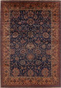 Navy Blue Floral Agra Oriental Area Rug 7x10
