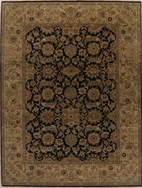 Black All-Over Floral Agra Oriental Area Rug 9x12