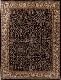 All-Over Floral Black Agra Oriental Area Rug 9x12