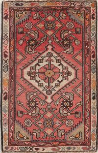 Vintage Geometric Red Hamedan Persian Rug 2x3