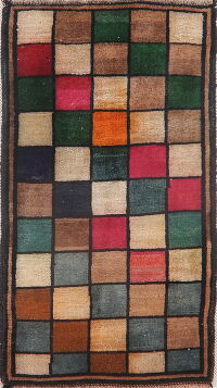 Checked Gabbeh Shiraz Persian Area Rug 2x3