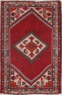 Vintage Red Geometric Hamedan Persian Rug 2x3