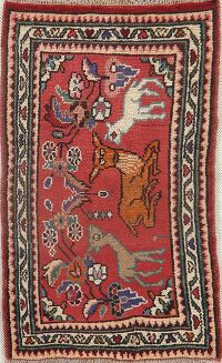 Vintage Animal Pictorial Hamedan Persian Rug 2x3
