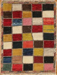 Checkered Gabbeh Persian Area Rug 2x3