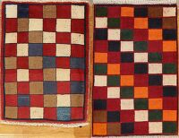 Set of 2 Checkered Gabbeh Shiraz Persian Area Rug 2x3