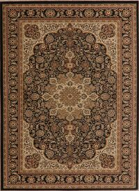 Black Floral Persian Style Area Rug 5x7