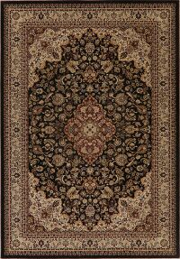 Floral Persian Style Area Rug Black 5x8