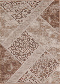 Animal Print Brown Beige Area Rug 5x7