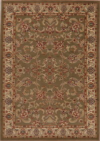 Classic Green Floral Area Rug 5x7